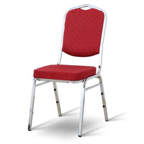Židle LEJLA NEW - látka červená / chromový rám