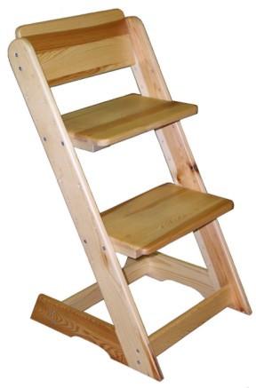 ATAN Dětská rostoucí židle, výška 81 cm Borovice - přírodní lak