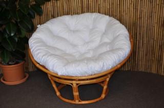 Ratanový papasan 110 cm - medový - polstr bílý