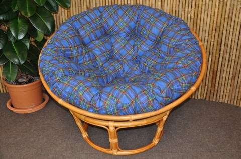 Ratanový papasan 110 cm - medový - polstr modrý