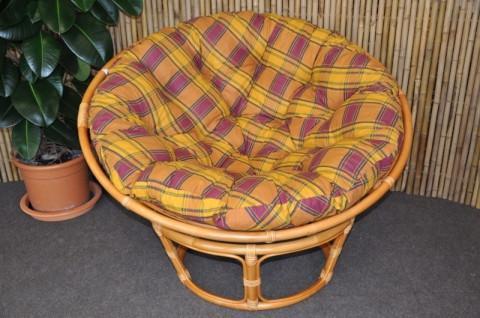 Ratanový papasan 110 cm - medový - polstr okrový