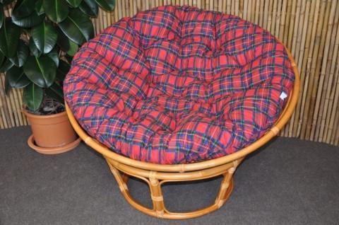 Ratanový papasan 110 cm - medový - polstr červený