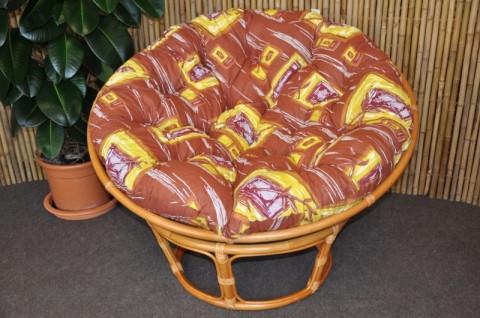 Ratanový papasan 110 cm - medový - polstr hnědý list