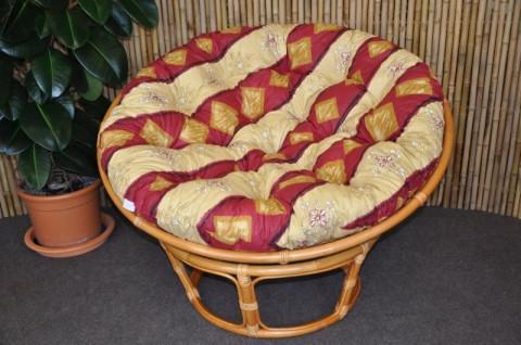 Ratanový papasan 110 cm - medový - polstr vínový motiv