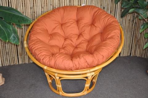 Ratanový papasan 110 cm - medový - polstr pískový