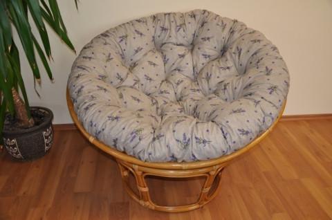 Ratanový papasan 110 cm - medový - polstr levandule