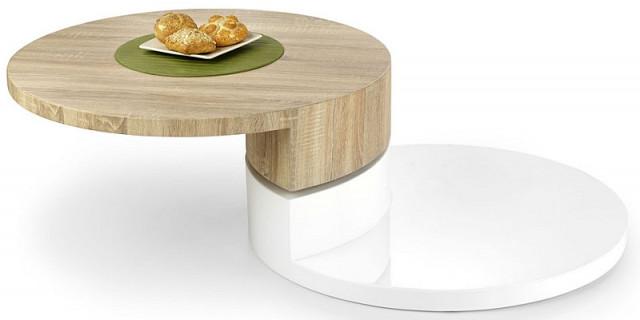 Konferenční stolek Madeleine - bílá/dub sonoma