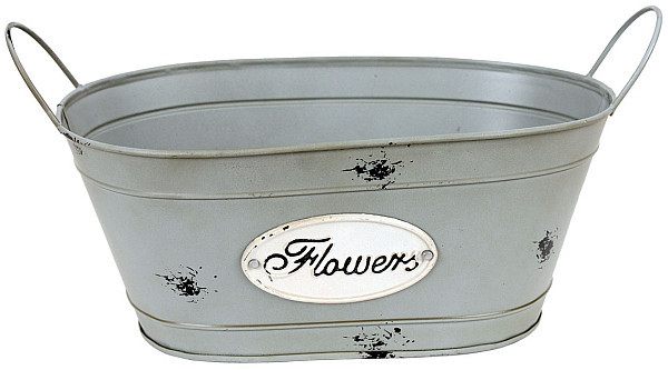 Plechový oválný obal na květiny Flowers