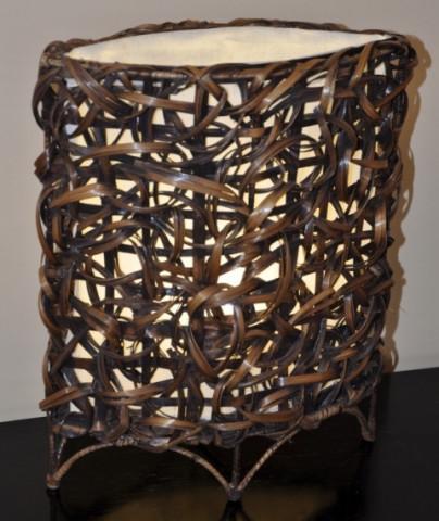 Lampa bambusová malá - oválná (bez žárovek)