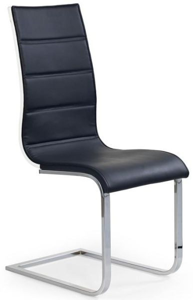 Halmar Jídelní židle K104 Černá koženka/překližka bílá