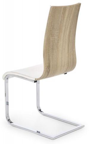 Jídelní židle K104 - Bílá koženka/překližka dub sonoma