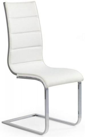 Jídelní židle K104 - Bílá koženka/překližka šedá