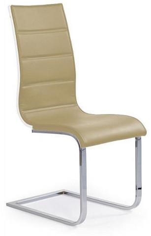 Jídelní židle K104 - Tmavě béžová koženka/překližka bílá