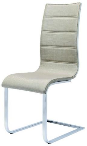 Jídelní židle K104 - Béžová látka/překližka bílá