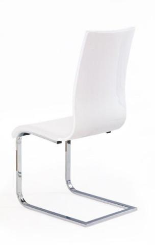 Jídelní židle K104 - Bílá látka/překližka bílá