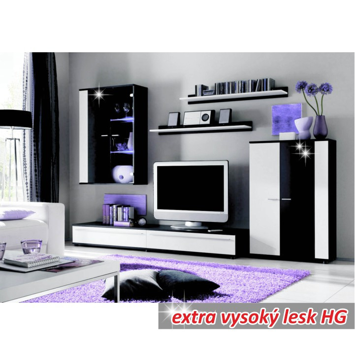 Obývací stěna CANES - bílá/černá