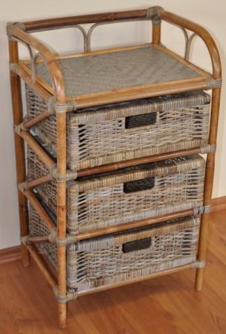 Ratanová komoda 3 zásuvky - ratan kubu