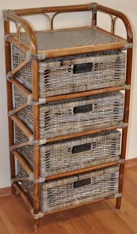 Ratanová komoda 4 zásuvky - ratan kubu