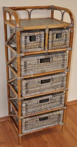Ratanová komoda 4+2 zásuvky - ratan kubu