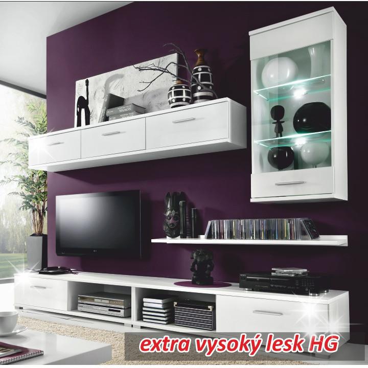 Tempo Kondela Obývací stěna MALIBU OS - bílá/bílá vysoký lesk