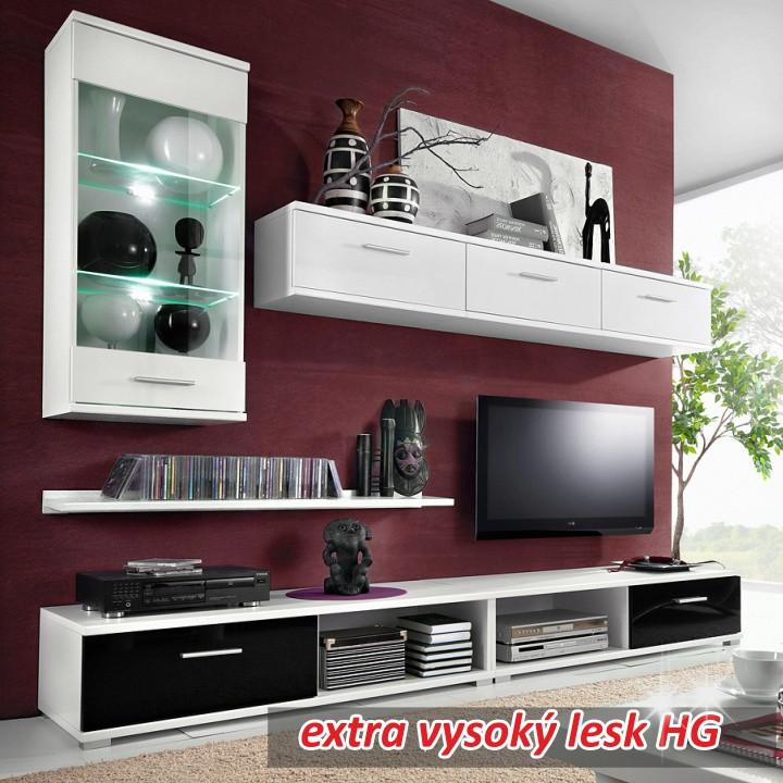 Obývací stěna MALIBU OS - bílá/černá vysoky lesk