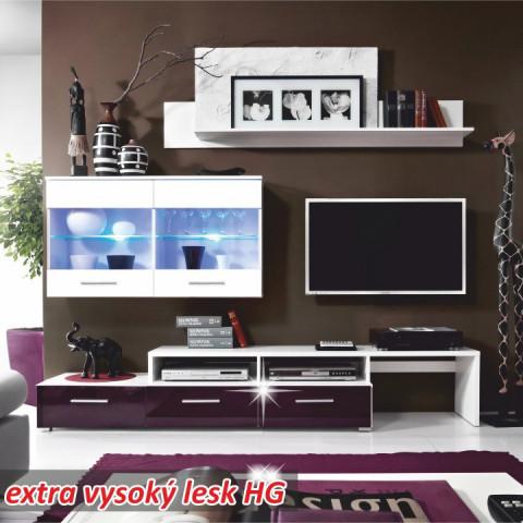 Obývací stěna SARAH - bílá/fialová vysoký lesk
