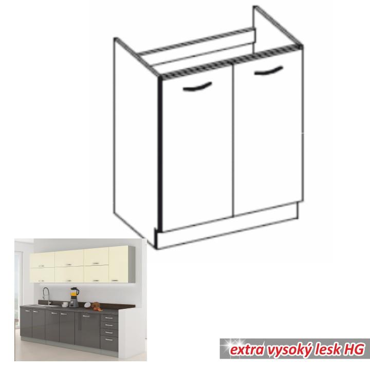 Tempo Kondela Kuchyňská skříňka PRADO 80 ZL 2F BB - šedá + kupón KONDELA10 na okamžitou slevu 10% (kupón uplatníte v košíku)