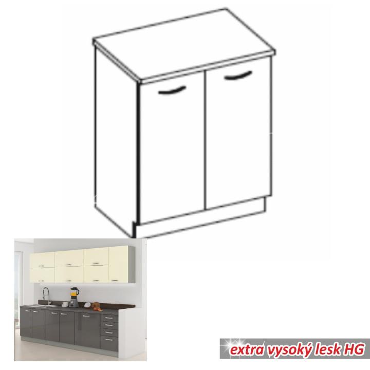 Tempo Kondela Kuchyňská skříňka PRADO 80 D 2F ZB - šedá + kupón KONDELA10 na okamžitou slevu 10% (kupón uplatníte v košíku)