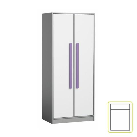 Skříň PIERE P01 - šedá/bílá/fialová