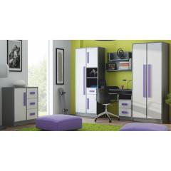 Rohová šatní skříň PIERE P02 - šedá/bílá/fialová