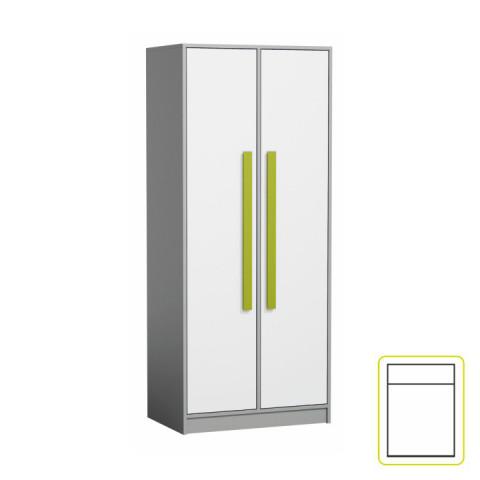 Skříň PIERE P01 - šedá/bílá/zelená