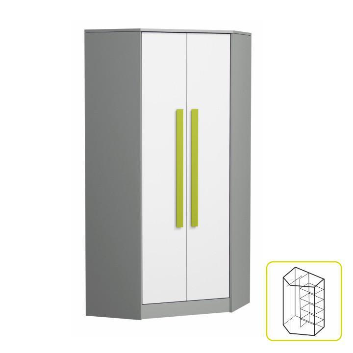 Rohová šatní skříň PIERE P02 - šedá/bílá/zelená
