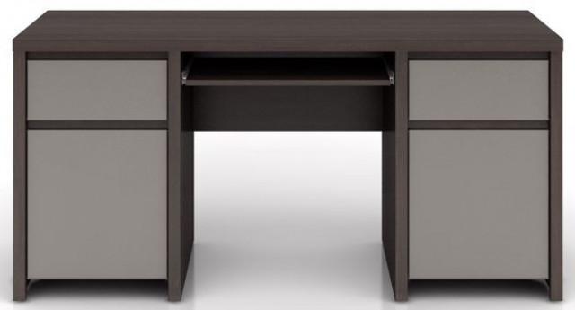 Psací stůl Kaspian BIU2D2S/160 - Wenge/šedý vysoký lesk