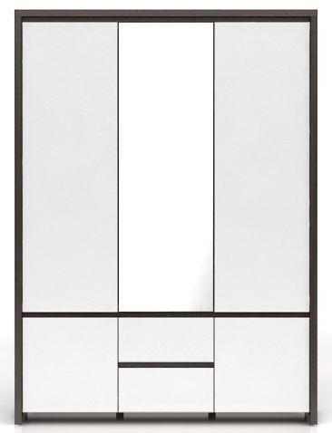 Skříň Kaspian SZF5D2S - Wenge/bílý lesk
