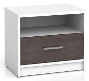 Noční stolek Nepo KOM1S - bílá/wenge