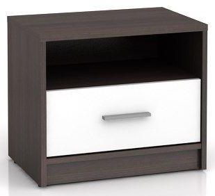 Noční stolek Nepo KOM1S - wenge/bílá