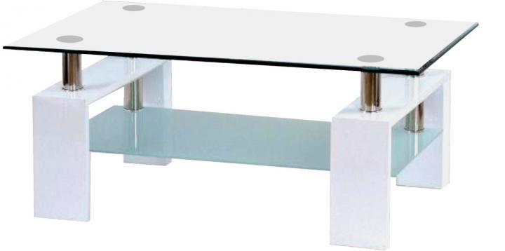 Falco Konferenční stolek A 08-3 bílý/bílé horní sklo