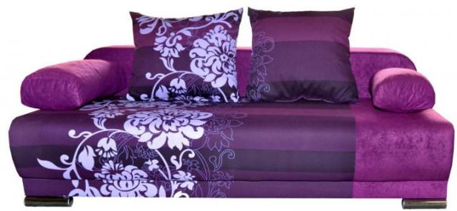 Pohovka Futon - fialový květ