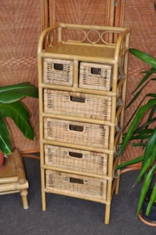 Ratanová komoda 4+2 zásuvky - medová