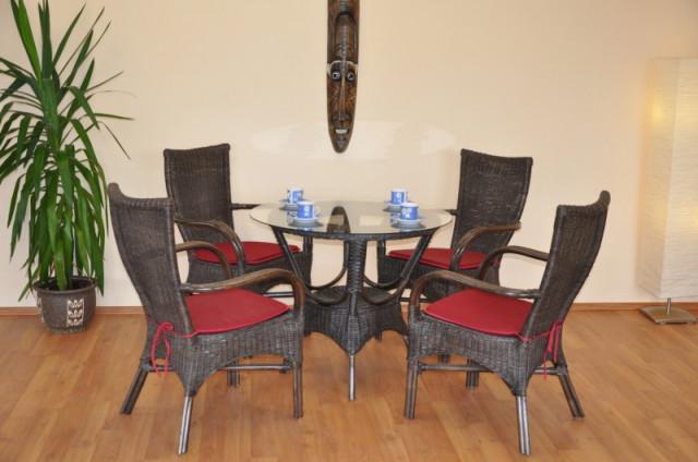 Ratanová jídelní souprava Wanuta - hnědá