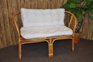 Ratanová lavice Bahama - medová - Polstr bílý