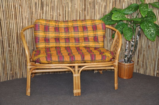 Ratanová lavice Bahama - medová - Polstr okrový