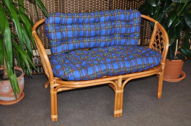 Ratanová lavice Bahama - medová - Polstr modrý