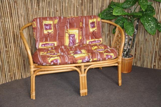Ratanová lavice Bahama - medová - Polstr hnědý list
