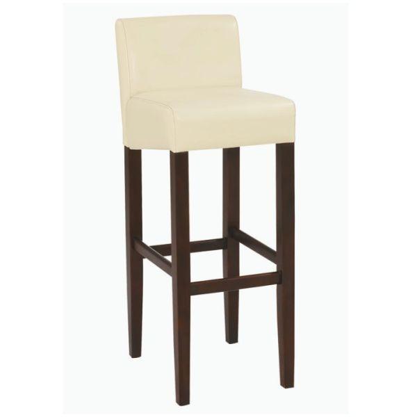 Barová židle SORIN NEW, textilní kůže krémová / dřevo tmavý ořech