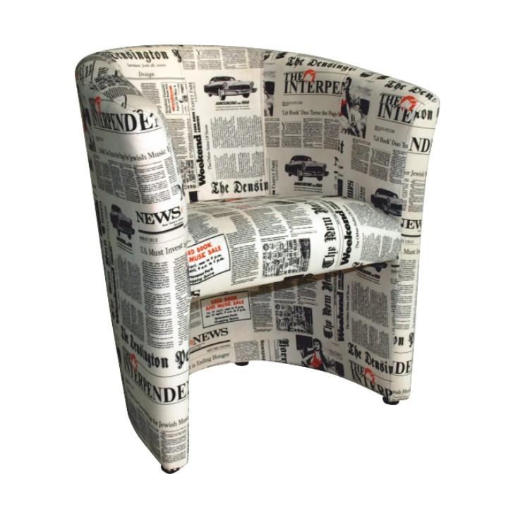 Tempo Kondela Křeslo CUBA - vzor noviny + kupón KONDELA10 na okamžitou slevu 10% (kupón uplatníte v košíku)