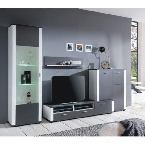Obývací stěna, šedá / bílá, MAXO OS