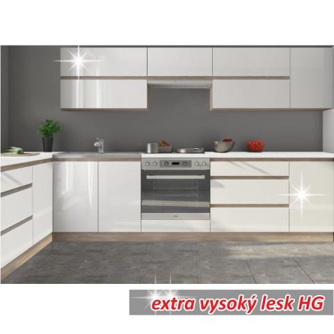 Kuchyňská linka LINE - bílá vysoký lesk - Ilustrační fotografie - možnost dokoupení dalších skříněk