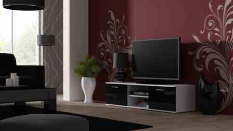 Televizní stolek SOHO 140 - bílá/černá - II. jakost