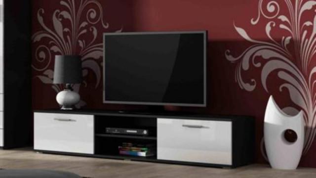 Televizní stolek SOHO 180 - černá/bílá